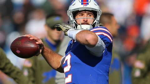 <p>               FILE - In this  Sunday, Nov. 4, 2018 file photo, Buffalo Bills quarterback Nathan Peterman (2) warms up before an NFL football game against the Chicago Bears in Orchard Park, N.Y. Nathan Peterman's turnover-over prone days with the Buffalo Bills are over after the second-year player was cut by the team on Monday, Nov. 12, 2018. The move was announced as the Bills (3-7) enter their bye week, and not long after coach Sean McDermott backed Peterman earlier in the day.  (AP Photo/Jeffrey T. Barnes, File)             </p>