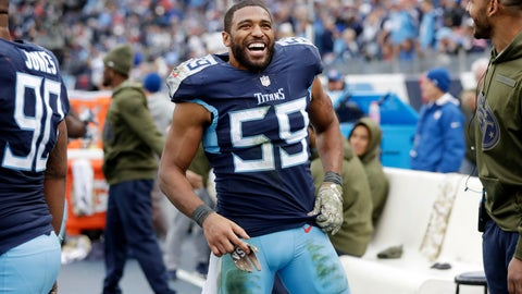 <p>               FILE - In this Nov. 11, 2018 file photo, Tennessee Titans inside linebacker Wesley Woodyard (59) watches from the sideline during the second half of an NFL football game against the New England Patriots in Nashville, Tenn. Woodyard laughs when asked if the 32-year-old linebacker has found a fountain of youth. Coming off a career-high 172 tackles, Woodyard once again is leading the Tennessee Titans in tackles despite missing two starts and nearly three full games with an injured shoulder.  (AP Photo/James Kenney, File)             </p>