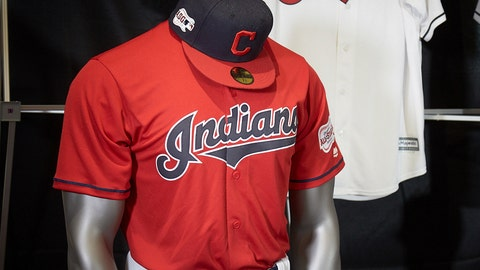 <p>               The Cleveland Indians display their 2019 uniforms, including a new home alternate red jersey, Monday morning, Nov. 19, 2018, at the Progressive Field Team Shop in Cleveland, Ohio. (Dan Mendlik/The Cleveland Indians via AP)             </p>