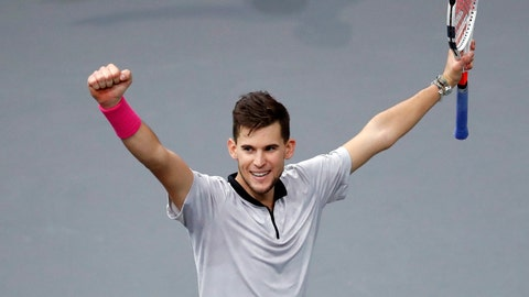 <p>               Austria's Dominic Thiem celebrates after defeating Jack Sock of the U.S. during their quarter-final match of the Paris Masters tennis tournament at the Bercy Arena in Paris, France, Friday, Nov. 2, 2018. (AP Photo/Christophe Ena)             </p>