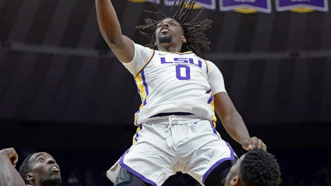 <p>               LSU forward Naz Reid (0) puts the ball up and in over Southeastern Louisiana guard Keith Charleston (24) and forward Moses Greenwood (13) in the first half of an NCAA college basketball game, Tuesday, Nov. 6, 2018, in Baton Rouge, La. (AP Photo/Bill Feig)             </p>