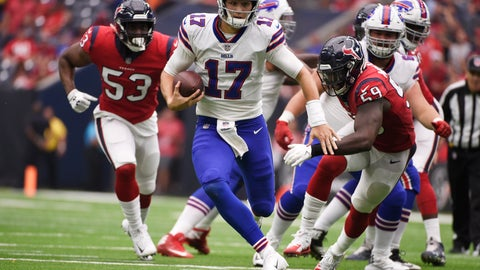 <p>               FILE - In this Oct. 14, 2018, file photo, Buffalo Bills quarterback Josh Allen (17) scrambles during the second half of an NFL football game against the Houston Texans, in Houston. Bills rookie Josh Allen is expected to be cleared to reclaim his starting job as Buffalo returns from its bye week to prepare to host Jacksonville on Sunday, Nov. 25. (AP Photo/Eric Christian Smith, File)             </p>