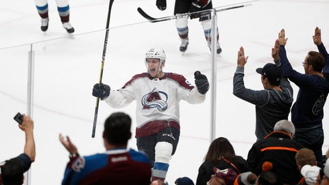 <p>               Colorado Avalanche's Mikko Rantanen, center, of Finland, celebrates his overtime goal in an NHL hockey game against the Anaheim Ducks on Sunday, Nov. 18, 2018, in Anaheim, Calif. The Avalanche won 4-3. (AP Photo/Jae C. Hong)             </p>