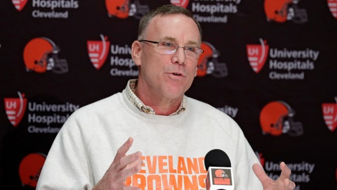 <p>               FILE - In this April 19, 2018, file photo, Cleveland Browns general manager John Dorsey answers questions about the draft during a news conference at the NFL football team's training camp facility in Berea, Ohio. Dorsey is heading the team's search for a new coach. Owners Dee and Jimmy Haslam recently fired coach Hue Jackson, who won just three of 40 games over two-plus seasons. (AP Photo/Tony Dejak, File)             </p>