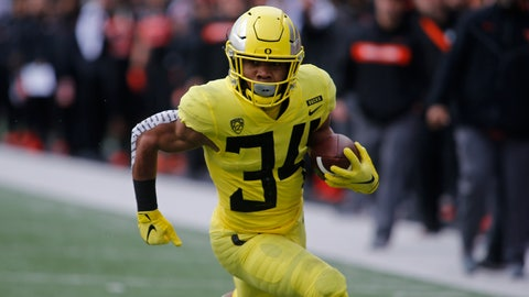 <p>               Oregon running back C.J. Verdell heads for a touchdown during the first half of an NCAA college football game against Oregon State in Corvallis, Ore., Friday, Nov. 23, 2018. (AP Photo/Timothy J. Gonzalez)             </p>