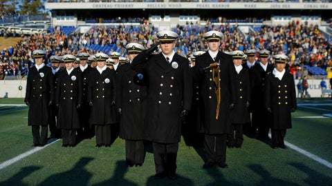 <p>               U.S. Naval Academy Midshipmen stand in formation on the field before an NCAA college football game against Tulsa, Saturday, Nov. 17, 2018, in Annapolis, Md. (AP Photo/Patrick Semansky)             </p>