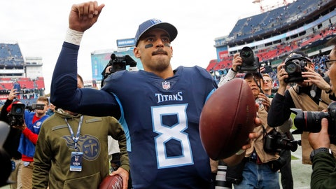 <p>               Tennessee Titans quarterback Marcus Mariota (8) leaves the field after the Titans beat the New England Patriots in an NFL football game Sunday, Nov. 11, 2018, in Nashville, Tenn. The Titans won 34-10. (AP Photo/James Kenney)             </p>