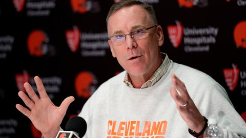 <p>               FILE - In this April 19, 2018, file photo, Cleveland Browns general manager John Dorsey answers questions about the draft during a news conference at the NFL football team's training camp facility, in Berea, Ohio. Dorsey, was previously in Kansas City before taking over in Cleveland late last year. (AP Photo/Tony Dejak, File)             </p>