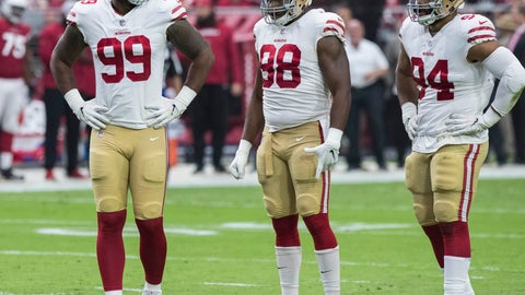 <p>               FILE - In this Oct. 28, 2018, file photo, San Francisco 49ers' DeForest Buckner (99), Ronald Blair III (98) and Solomon Thomas (94) wait for a play against the Arizona Cardinals during the first half of an NFL football game in Glendale, Ariz. Thomas, the No. 3 overall pick in the 2017 draft, has struggled even to get onto the field in pass-rushing situations. He lacks the speed to come off the edge and hasn't shown the ability to be one of the team's top inside rushers so he has been mostly relegated to being only a base defender. (AP Photo/Darryl Webb, File)             </p>