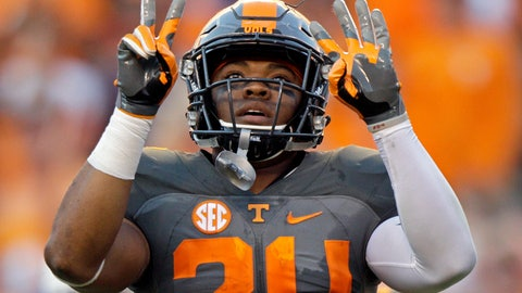 <p>               FILE - In this Sept. 24, 2016, file photo, Tennessee defensive back Todd Kelly Jr. celebrates after an interception during the second half of an NCAA college football game against Florida, in Knoxville, Tenn. Kelly always believed he'd play again and end his college career on his terms even as he struggled with a knee injury. (AP Photo/Wade Payne, File)             </p>