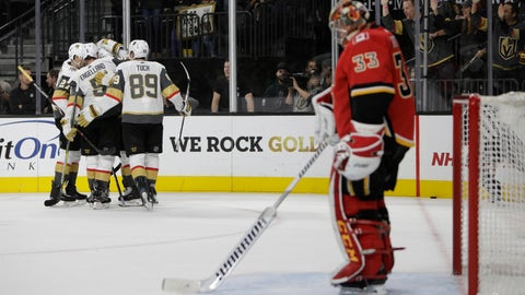 <p>               The Vegas Golden Knights celebrate after right wing Alex Tuch (89) scored a goal against the Calgary Flames during the second period of an NHL hockey game Friday, Nov. 23, 2018 in Las Vegas. (AP Photo/Joe Buglewicz)             </p>