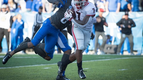 <p>               Georgia running back D'Andre Swift (7) rushes for a touchdown during the first half an NCAA college football game against Kentucky in Lexington, Ky., Saturday, Nov. 3, 2018. (AP Photo/Bryan Woolston)             </p>