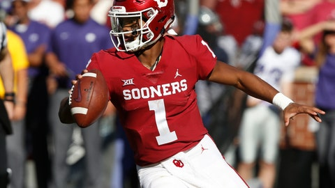 <p>               File - In this Oct. 27, 2018, file photo, Oklahoma quarterback Kyler Murray (1) maneuvers during an NCAA college football game against Kansas State in Norman, Okla. What figures to be Murray's one-and-done attempt to get No. 7 Oklahoma back to the College Football Playoff will require a win in an atmosphere significantly more hostile because of a prime-time kickoff. (AP Photo/Sue Ogrocki, File)             </p>