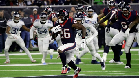 <p>               Houston Texans running back Lamar Miller (26) runs for a 97-yard touchdown against the Tennessee Titans during the first half of an NFL football game, Monday, Nov. 26, 2018, in Houston. (AP Photo/David J. Phillip)             </p>