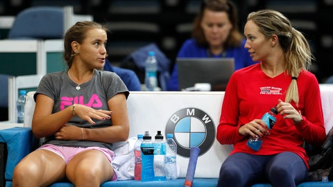 <p>               US Danielle Rose Collins, right, talks to her teammate Sofia Kenin, left, during a training session prior to the final match of the Fed Cup between Czech Republic and USA in Prague, Czech Republic, Wednesday, Nov. 7, 2018. (AP Photo/Petr David Josek)             </p>