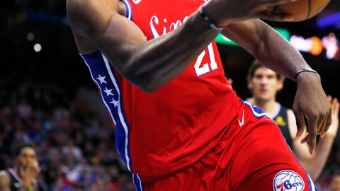 <p>               Philadelphia 76ers center Joel Embiid (21) dives to make a save during the second half on an NBA basketball game against the Los Angeles Clippers, Thursday, Nov. 1, 2018, in Philadelphia. The 76ers won 122-113. (AP Photo/Laurence Kesterson)             </p>