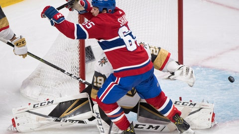 <p>               Montreal Canadiens' Andrew Shaw reacts after scoring against Vegas Golden Knights goaltender Marc-Andre Fleury during the third period of an NHL hockey game, Saturday, Nov. 10, 2018 in Montreal. (Graham Hughes/The Canadian Press via AP)             </p>