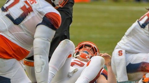 <p>               Syracuse quarterback Eric Dungey (2) lies on the ground injured during the first half of an NCAA college football game against Notre Dame, Saturday, Nov. 17, 2018, at Yankee Stadium in New York. (AP Photo/Howard Simmons)             </p>