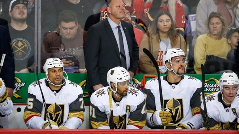 <p>               FILE - In this Nov. 19, 2018 file photo Vegas Golden Knights' head coach Gerard Gallant, top center, watches the action during second period NHL hockey game action against the Calgary Flames in Calgary, Alberta. Gallant has insisted over the first two months of the season that the Golden Knights would be fine once they found their rhythm and re-established the type of chemistry that led them to the Stanley Cup Final last season. Apparently, Gallant knew what he was talking about. Vegas has won four straight to move above .500 for the first time this season. (Jeff McIntosh/The Canadian Press via AP, file)             </p>