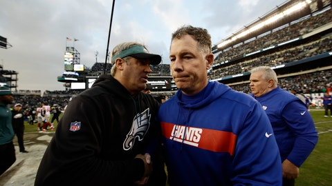 <p>               Philadelphia Eagles head coach Doug Pederson, left, and New York Giants head coach Pat Shurmur meet after an NFL football game, Sunday, Nov. 25, 2018, in Philadelphia. Philadelphia won 25-22. (AP Photo/Michael Perez)             </p>