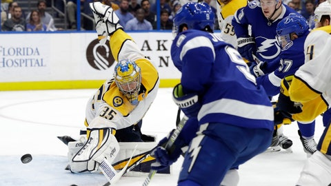 <p>               Nashville Predators goaltender Pekka Rinne (35) makes a save on a shot by Tampa Bay Lightning center Tyler Johnson (9) during the second period of an NHL hockey game Thursday, Nov. 1, 2018, in Tampa, Fla. (AP Photo/Chris O'Meara)             </p>
