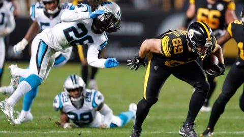 <p>               FILE - In this Nov. 8, 2018, file photo, Pittsburgh Steelers tight end Vance McDonald (89) runs with the ball during the team's NFL football game against the Carolina Panthers in Pittsburgh. Among the Panthers defenders are Mike Adams (29) and Shaq Thompson (54). The Panthers have been a perennial top 10 defense since middle linebacker Luke Kuechly's arrival in 2012, making their performance against Pittsburgh all that much more surprising. The Steelers scored on seven of their first eight possessions; the only time they failed to do so was when they took a knee before halftime to run out the clock. (AP Photo/Keith Srakocic, File)             </p>