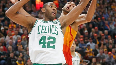 <p>               Boston Celtics center Al Horford (42) and Utah Jazz center Rudy Gobert, rear, battle for a loose ball in the first half during an NBA basketball game Friday Nov. 9, 2018, in Salt Lake City. (AP Photo/Rick Bowmer)             </p>