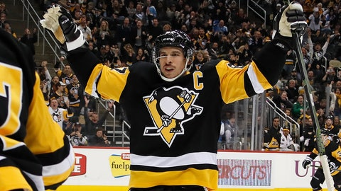 <p>               Pittsburgh Penguins' Sidney Crosby (87) celebrates a goal by Dominik Simon with teammates during the second period of an NHL hockey game against the Arizona Coyotes in Pittsburgh, Saturday, Nov. 10, 2018. (AP Photo/Gene J. Puskar)             </p>