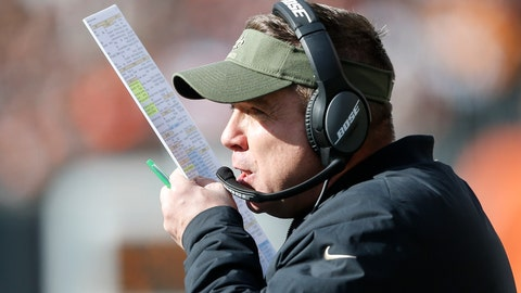<p>               New Orleans Saints head coach Sean Payton works the sidelines in the first half of an NFL football game against the Cincinnati Bengals, Sunday, Nov. 11, 2018, in Cincinnati. (AP Photo/Gary Landers)             </p>