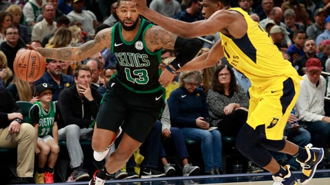 <p>               Boston Celtics forward Marcus Morris (13) dribbles the basketball defended by Indiana Pacers forward Thaddeus Young during an NBA basketball game, Saturday, Nov. 3, 2018, in Indianapolis. Indiana won 102-101. (AP Photo/R Brent Smith)             </p>