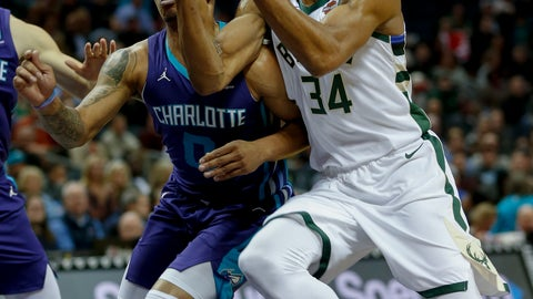 <p>               Milwaukee Bucks forward Giannis Antetokounmpo, right, of Greece, drives to the basket against Charlotte Hornets forward Miles Bridges in the first half of an NBA basketball game in Charlotte, N.C., Monday, Nov. 26, 2018. (AP Photo/Nell Redmond)             </p>