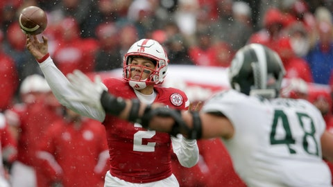 <p>               Nebraska quarterback Adrian Martinez (2) throws a pass as Michigan State defensive end Kenny Willekes (48) closes in, during the second half of an NCAA college football game in Lincoln, Neb., Saturday, Nov. 17, 2018. Nebraska won 9-6. (AP Photo/Nati Harnik)             </p>
