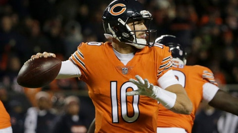 <p>               Chicago Bears quarterback Mitchell Trubisky (10) throws a pass during the first half of an NFL football game against the Minnesota Vikings Sunday, Nov. 18, 2018, in Chicago. (AP Photo/David Banks)             </p>