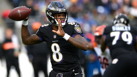 <p>               Baltimore Ravens quarterback Lamar Jackson throws a pass in the first half of an NFL football game against the Cincinnati Bengals, Sunday, Nov. 18, 2018, in Baltimore. (AP Photo/Nick Wass)             </p>