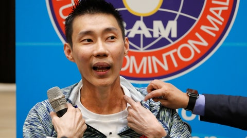 <p>               Former world No. 1 badminton player Lee Chong Wei from Malaysia explaining his recent cancer treatment in Taiwan during a press conference in Kuala Lumpur, Malaysia, Thursday, Nov. 8, 2018. Lee explained that he plans to return to the sport and hopes for the Tokyo Olympics if his health allows. (AP Photo/Vincent Thian)             </p>