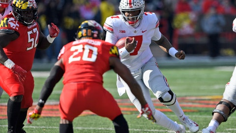 <p>               FILE - In this Saturday, Nov. 17, 2018, file photo, Ohio State quarterback Dwayne Haskins Jr. (7) runs with the ball against Maryland defensive back Antwaine Richardson (20) and defensive lineman Oluwaseun Oluwatimi (52) during the first half of an NCAA football game in College Park, Md. Ohio Stat coach Urban Meyer, says Haskins wasn't a fully legitimate leader until he showed he was willing to run the ball two weeks ago in the narrow overtime win over Maryland.(AP Photo/Nick Wass, File)             </p>