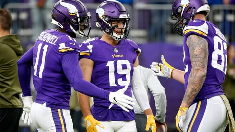 <p>               Minnesota Vikings wide receiver Adam Thielen (19) talks with teammates Laquon Treadwell, left, and Kyle Rudolph, right, before an NFL football game against the Detroit Lions, Sunday, Nov. 4, 2018, in Minneapolis. (AP Photo/Bruce Kluckhohn)             </p>