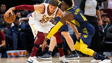 <p>               FILE - In this Monday, Oct. 8, 2018, file photo, Cleveland Cavaliers forward Kyle Korver (26) keeps the ball away from Indiana Pacers guard Victor Oladipo (4) during the third quarter of a preseason NBA basketball game, in Cleveland. A person familiar with the deal said Wednesday, Nov. 28, 2018, the Cleveland Cavaliers have agreed to trade veteran forward Korver to the Utah Jazz. (AP Photo/Scott R. Galvin, File)             </p>