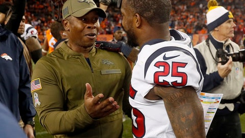 <p>               Denver Broncos head coach Vance Joseph talks with Houston Texans strong safety Kareem Jackson (25) after an NFL football game, Sunday, Nov. 4, 2018, in Denver. The Texans won 19-17. (AP Photo/David Zalubowski)             </p>