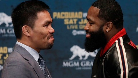 <p>               CORRECTS SPELLING TO PACQUIAO, NOT PAQUIAO AS ORIGINALLY SENT - Manny Pacquiao, left, and Adrien Broner attend a news conference, Monday, Nov. 19, 2018, in New York. Pacquiao will defend his World Boxing Association welterweight title against Broner on Jan. 19, 2019, in Las Vegas. (AP Photo/Mark Lennihan)             </p>