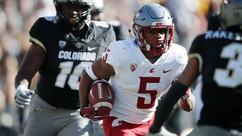 <p>               Washington State wide receiver Travell Harris, center, runs for a long gain past Colorado linebacker Alex Tchangam, back, and toward defensive back Derrion Rakestraw in the first half of an NCAA college football game Saturday, Nov. 10, 2018, in Boulder, Colo. (AP Photo/David Zalubowski)             </p>