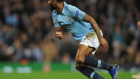 <p>               Manchester City midfielder Raheem Sterling celebrates after scoring his side's third goal during the Champions League Group F soccer match between Manchester City and Shakhtar Donetsk at Etihad stadium in Manchester, England, Wednesday, Nov. 7, 2018. (AP Photo/Rui Vieira)             </p>