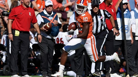 <p>               Clemson's Derion Kendrick subbing as quarterback, scrambles and runs for a first down during the second half of an NCAA college football game against Louisville, Saturday, Nov. 3, 2018, in Clemson, S.C. Clemson won 77-16. (AP Photo/Richard Shiro)             </p>