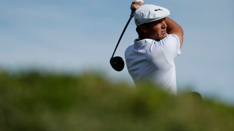 <p>               Bryson DeChambeau hits off the first tee during the final round of the Shriners Hospitals for Children Open golf tournament Sunday, Nov. 4, 2018, in Las Vegas. (AP Photo/John Locher)             </p>