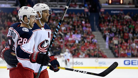 <p>               Columbus Blue Jackets right wing Oliver Bjorkstrand (28), of Denmark, celebrates his goal with Seth Jones, right, during the first period of an NHL hockey game against the Washington Capitals, Friday, Nov. 9, 2018, in Washington. (AP Photo/Nick Wass)             </p>