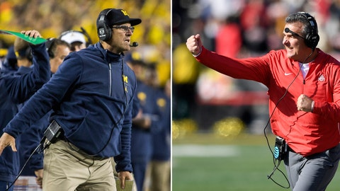 <p>               FILE - At left, in an Oct. 13, 2018, file photo, Michigan head coach Jim Harbaugh signals to his offense from the sidelines in the second quarter of an NCAA college football game against Wisconsin in Ann Arbor, Mich. At right, in a Nov. 17, 2018, file photo, Ohio State head coach Urban Meyer gestures during the first half of an NCAA football game against Maryland, in College Park, Md. Michigan plays at Ohio State on Saturday.  (AP Photo/File)             </p>