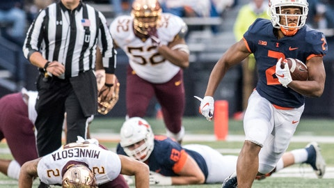 <p>               Illinois running back Reggie Corbin (2) breaks away to the end zone in the second half of a NCAA college football game against Minnesota, Saturday, Nov. 3, 2018, in Champaign, Ill. (AP Photo/Holly Hart)             </p>