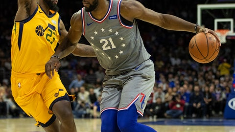 <p>               Philadelphia 76ers' Joel Embiid, right, of Cameroon, drives to the basket against Utah Jazz's Royce O'Neale, left, during the first half of an NBA basketball game, Friday, Nov. 16, 2018, in Philadelphia. (AP Photo/Chris Szagola)             </p>