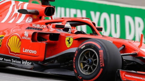 <p>               Ferrari driver Sebastian Vettel, of Germany, steers his car during the first free practice at the Interlagos race track in Sao Paulo, Brazil, Friday, Nov. 9, 2018. (AP Photo/Nelson Antoine)             </p>