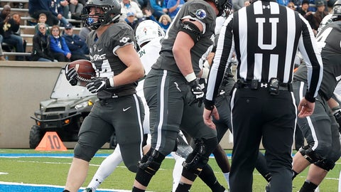 <p>               Air Force fullback Cole Fagan, left, scores a touchdown against Colorado State in the first half of an NCAA college football game Thursday, Nov. 22, 2018, at Air Force Academy, Colo. (AP Photo/David Zalubowski)             </p>